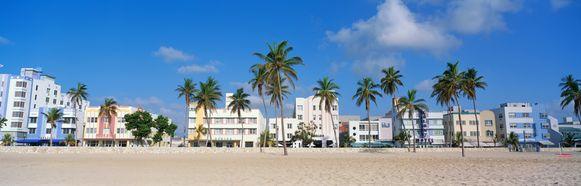 Miami Beach, hét iconische strand met palmbomen van Florida.
