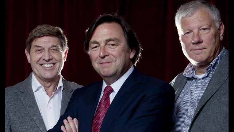 Drie commissarissen van Ajax: Theo van Duivenbode, voorzitter Hans Wijers (midden) en Leo van Wijk, de beoogd opvolger van Wijers. Beeld Pieter Stam de Jonge