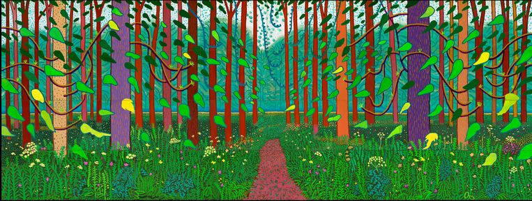 David Hockney: The Arrival of Spring in Woldgate, East Yorkshire in 2011 (twenty eleven), 9,75 x 3,66 m. Beeld  David Hockney / Richard Schmidt, Centre Pompidou, Parijs
