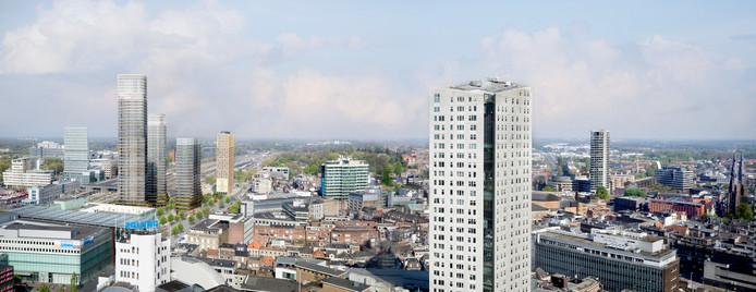 De skyline van Eindhoven met daarin getekend de 3 torens van het plan District E voor het Stationsplein.