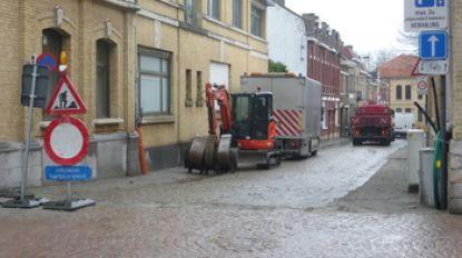 Start werken Lombaardstraat, rijrichting Sint-Elisabethstraat draait om