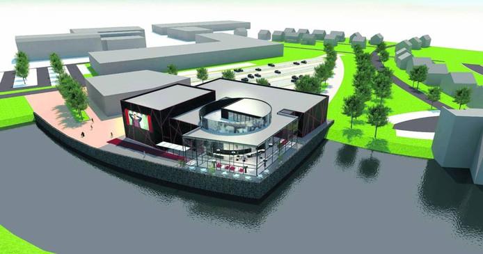 Het moderne complex van Cinema Kiek in de Pot komt ten zuiden van De Zeeland te liggen, langs een waterpartij.