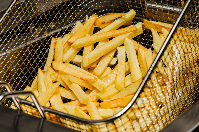 french fries freshly cooked in electric fryer