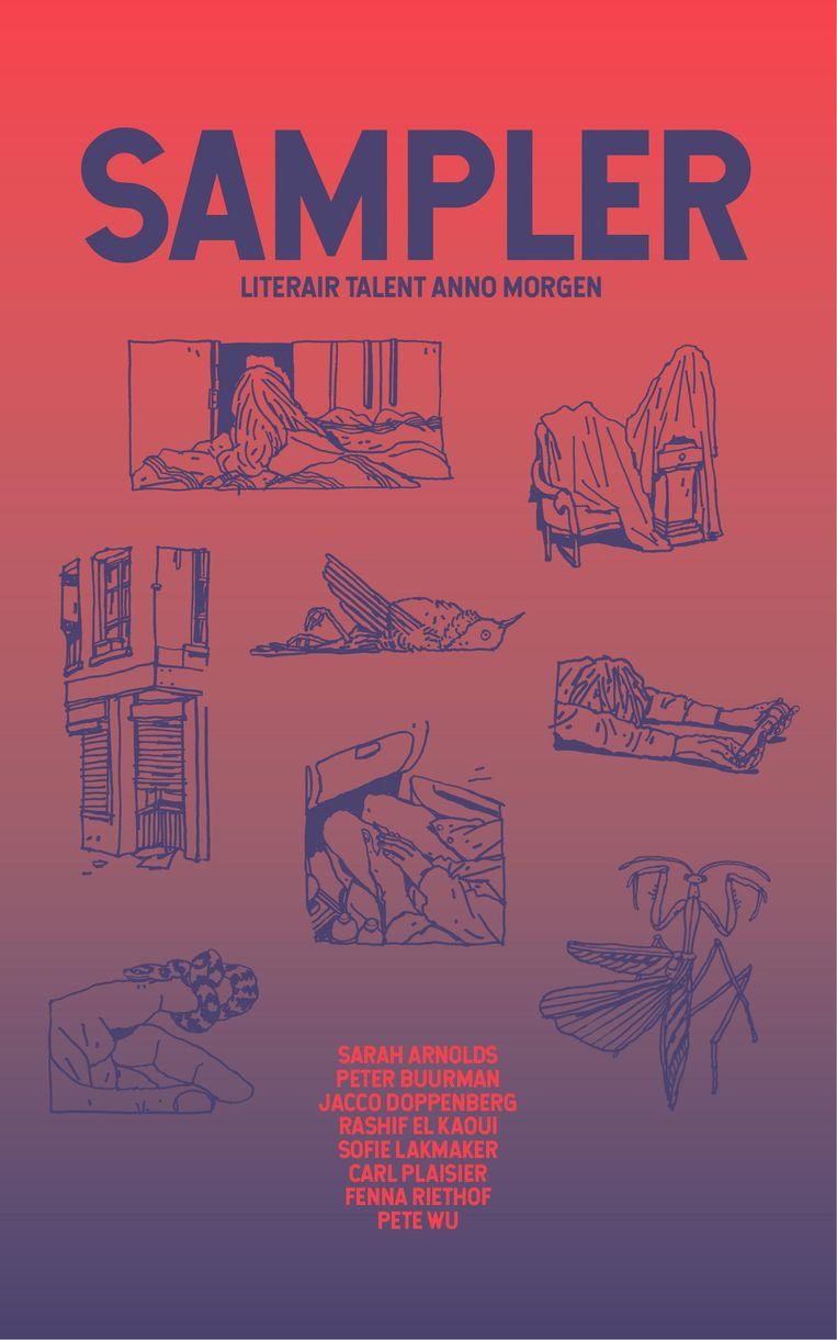 Acht verhalen van acht auteurs, dus ook acht afbeeldingen op de omslag van de Sampler Beeld .
