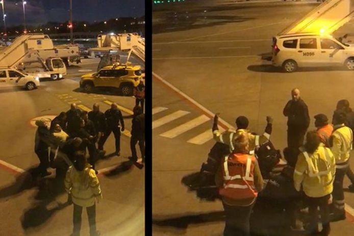 De hardhandige arrestatie van Jozef Chovanec is vanuit het vliegtuig gefilmd.