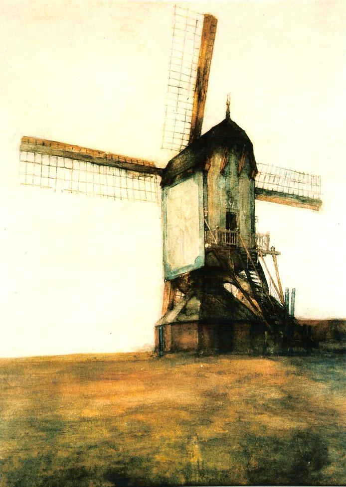 De Molen van Jetten zoals Piet Mondriaan die schilderde.