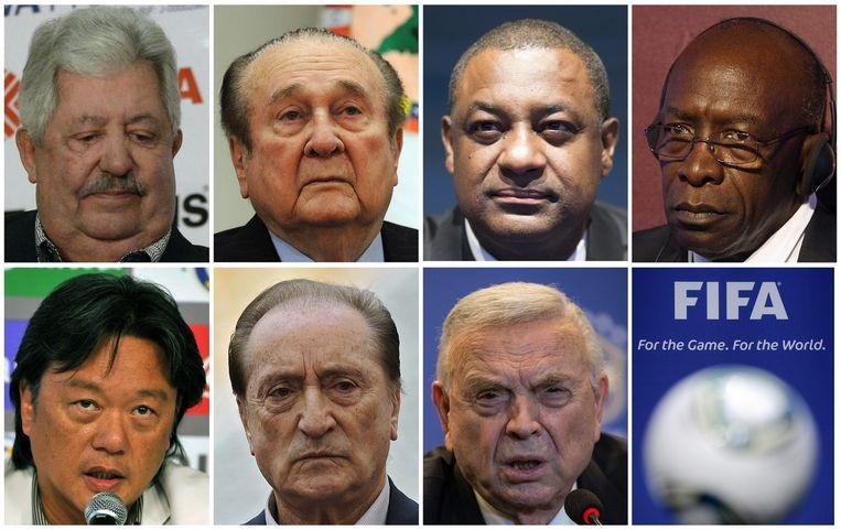 Van links naar recht, bovenste rij eerst: Rafael Esquivel, Nicolas Leoz, Jeffrey Webb, Jack Warner, Eduardo Li, Eugenio Figueredo en Jose Maria Marin. Beeld afp