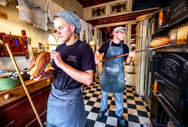 De ambachtelijke bakker, zoals deze van Lucas Vermeulen (rechts) in Heusden, wordt met uitsterven bedreigd. Beeld Raymond Rutting
