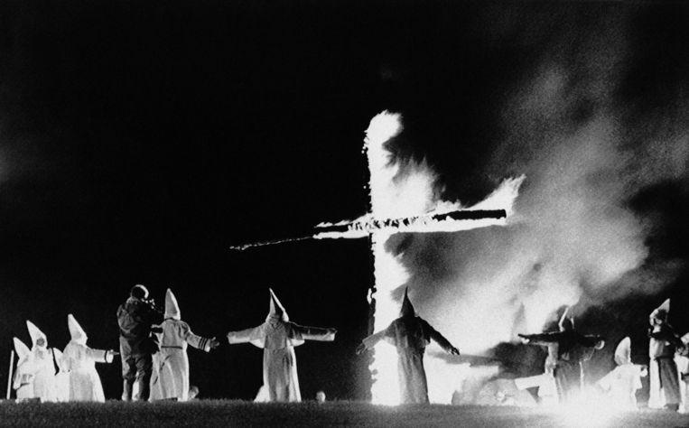 Leden van de Ku Klux Klan in de Amerikaanse staat Maine in 1987.