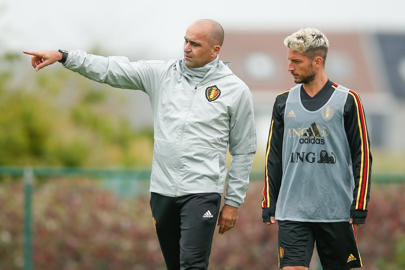 Roberto Martinez en Dries Mertens.