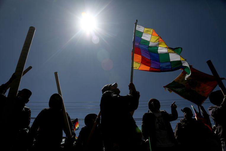 Aanhangers van de voormalige president Evo Morales protesteren in El Alto. Beeld AFP