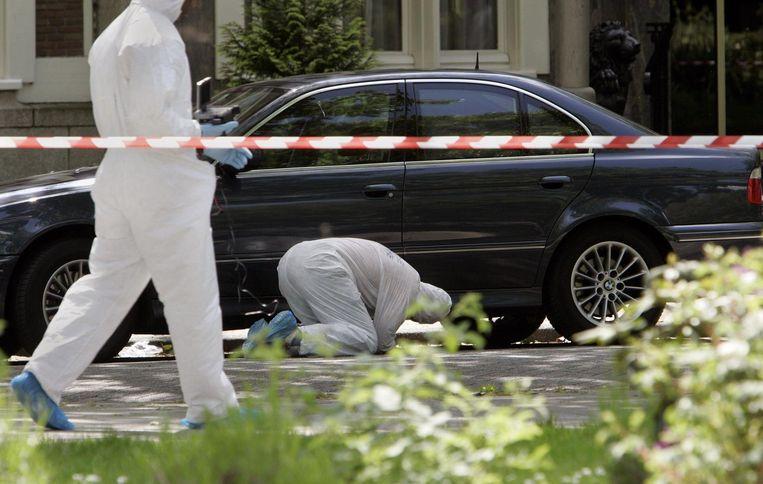 Onderzoek op de plaats delict waar vastgoedhandelaar Willem Endstra werd vermoord Beeld anp