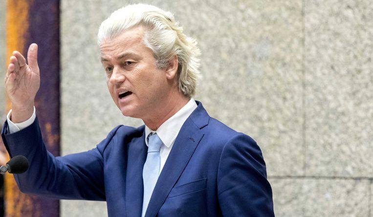 PVV-fractievoorzitter Geert Wilders tijdens het Tweede Kamerdebat over het eindverslag van de informateur.  Beeld ANP