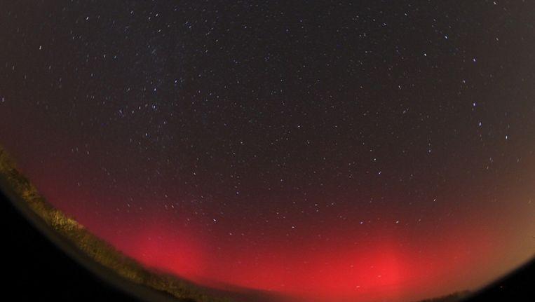 Het noorderlicht gisteravond vastgelegd vanuit het Zeeuwse Oostkapelle.