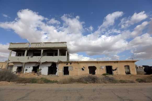 Een verwoest gebouw in Libië. Archieffoto.