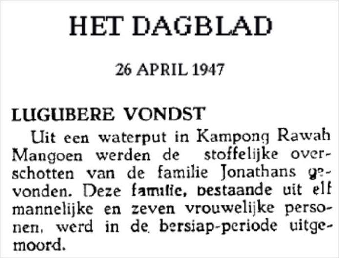 Fragment uit Het Dagblad uit 1947 na afloop van de Bersiap in Nederlands Indië.