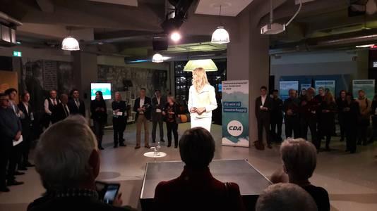 CDA-staatssecretaris Mona Keijzer tijdens de CDA-bijeenkomst in de Eindhovense Lichttoren.