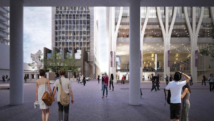 Doorkijk langs het stadhuis naar het te bouwen 'cultuurpaleis'.