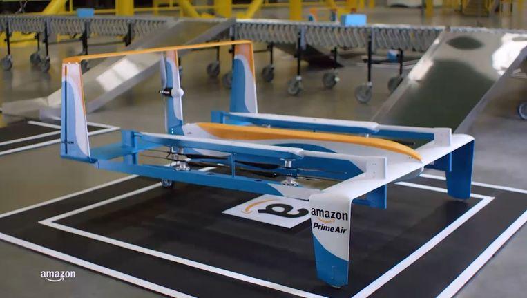 Een prototype bezorgdrone, waarmee Amazon aan het testen is. Beeld Amazon