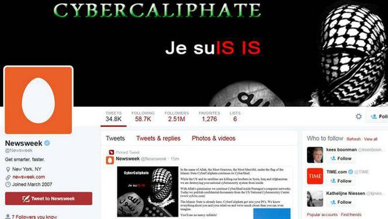 Screenshot van de Twitter-account van het Amerikaanse blad Newsweek dat vorige week kort werd gehackt door de groep die zich Cyber Caliphate noemt.