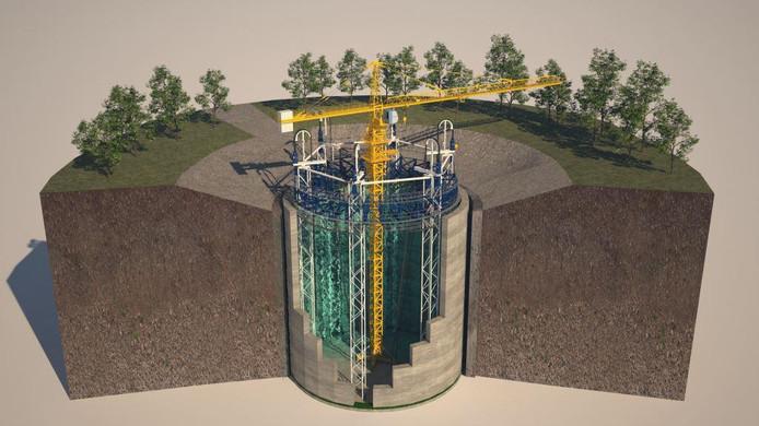 Een impressie van de bouw van ondergrondse energieopslag in een Ecovat zoals die bij Het Dorp in Arnhem wordt gebouwd.