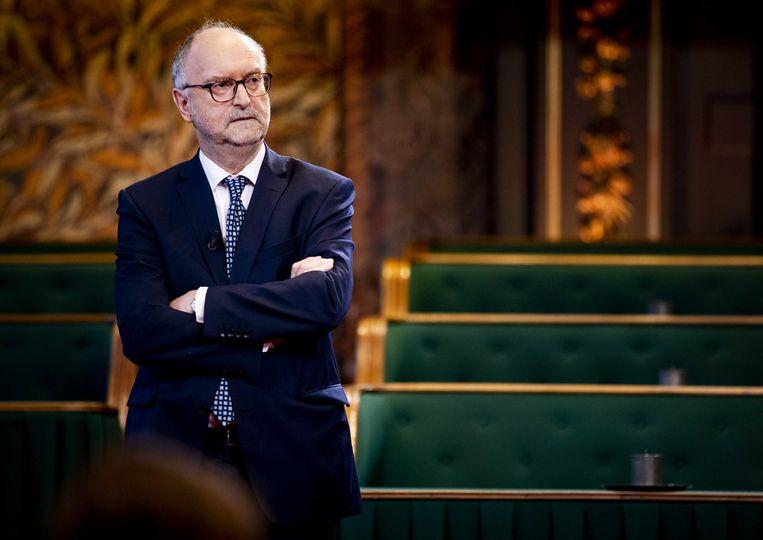 Paul Cliteur tijdens de uitslag voor de Eerste Kamerverkiezingen in de plenaire zaal van de Eerste Kamer. Beeld ANP