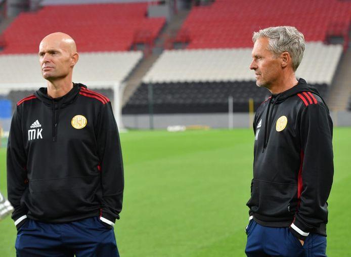 Hoofdtrainer Marcel Keizer en fysiektrainer Jan Kluitenberg bij Al jazira Sportclub in de Verenigde Arabische Emiraten.