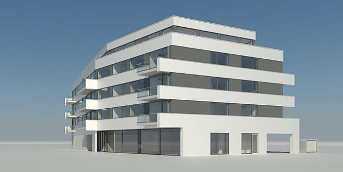 Het ontwerp van het nieuwe appartementencomplex dat moet komen op locatie De Harmonie: op de hoek van de Dijkweg en de Verdilaan.