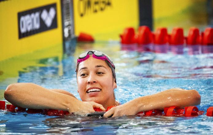 Ranomi Kromowidjojo na de 50 meter vrije slag tijdens de Swim Cup.