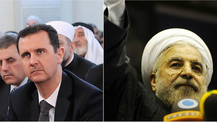 Assad en Hassan Rohani. Beeld photo_news