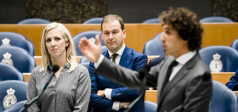 Lilian Marijnissen (SP), Lodewijk Asscher (PVDA) en Jesse Klaver (Groenlinks) tijdens een debat in de Tweede Kamer over de omstreden uitspraken van Minister Blok over de multiculturele samenleving en Suriname.  Beeld null