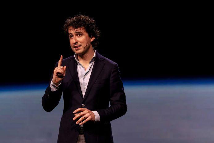 Partijleider Jesse Klaver tijdens de presentatie van de Green New Deal van GroenLinks.