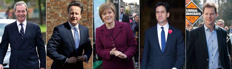 V.l.n.r.: Nigel Farage, David Cameron, Nicola Sturgeon, Ed Miliband en Nick Clegg. Beeld afp