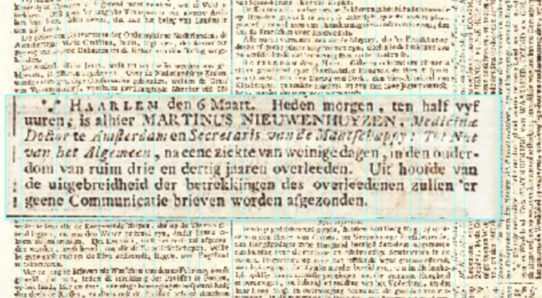 De eerste rouwadvertentie van Nederland uit 1793 Beeld