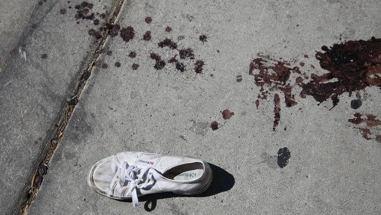 Een schoen en bloedsporen na het bloedbad dat schutter Stephen Paddock aanrichtte in Las Vegas