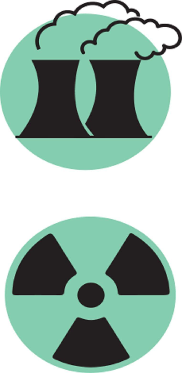 Illustratie van energielabels: kolencentrales en kernenergie. Beeld Trouw