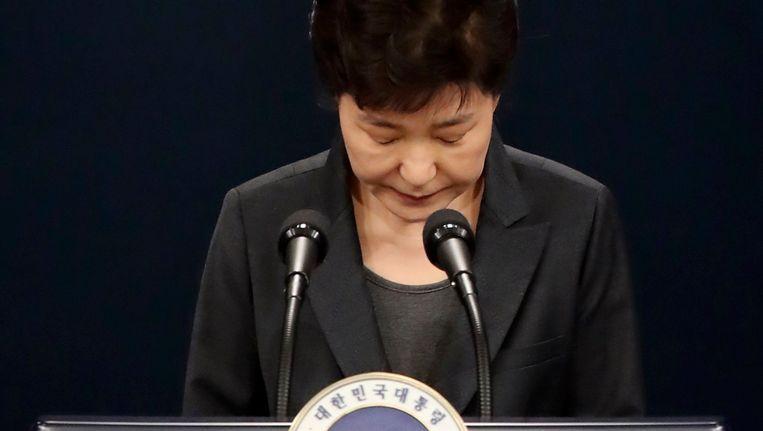 Park Geun-hye tijdens een toespraak in november. Beeld epa