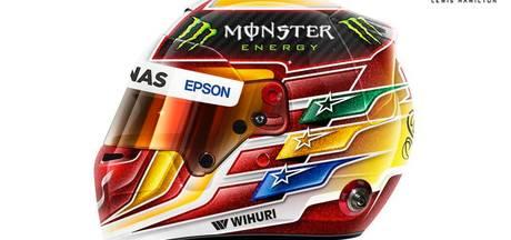 Eerbetoon aan Senna op helm Hamilton