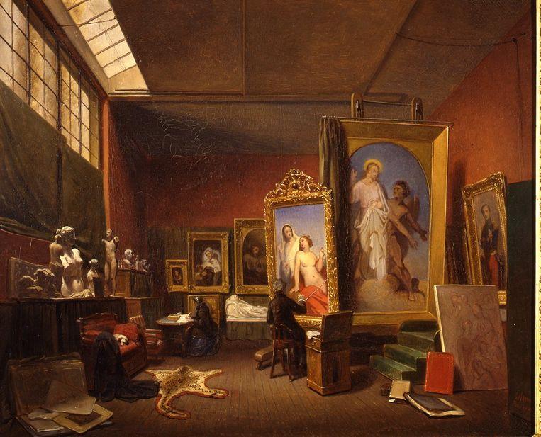 Ary Johannes Lamme, 1850 - Ary Scheffer aan het werk in het grote atelier bij zijn woonhuis aan de Rue Chaptal 16 Beeld Dordrechts museum