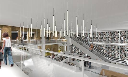Een artist impression van hoe Broese Boekverkopers plek zou krijgen op een deel van de begane grond, een tussenverdieping en gedeeltelijk op de eerste verdieping.