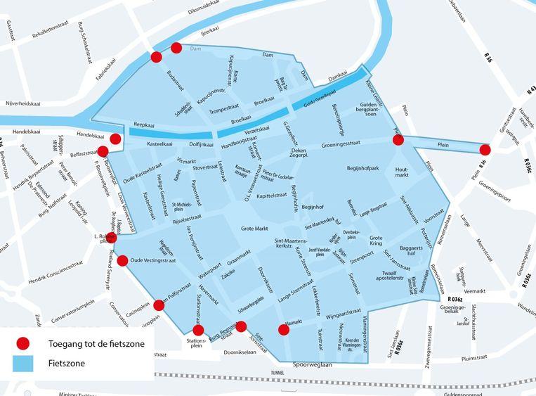 Indien Kortrijk voor stemt, wordt de fietszone het gebied waarbinnen elke maand een autovrije zondag wordt gehouden.