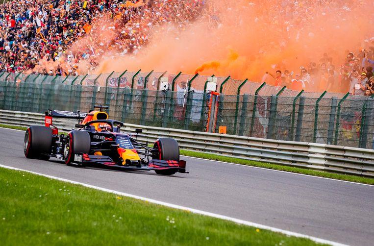 Max Verstappen op het circuit van Spa-Francorchamps.  Beeld ANP
