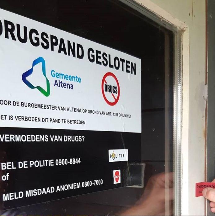 De sluiting van een schuur in Giessen waar drugs gebruikt werd.