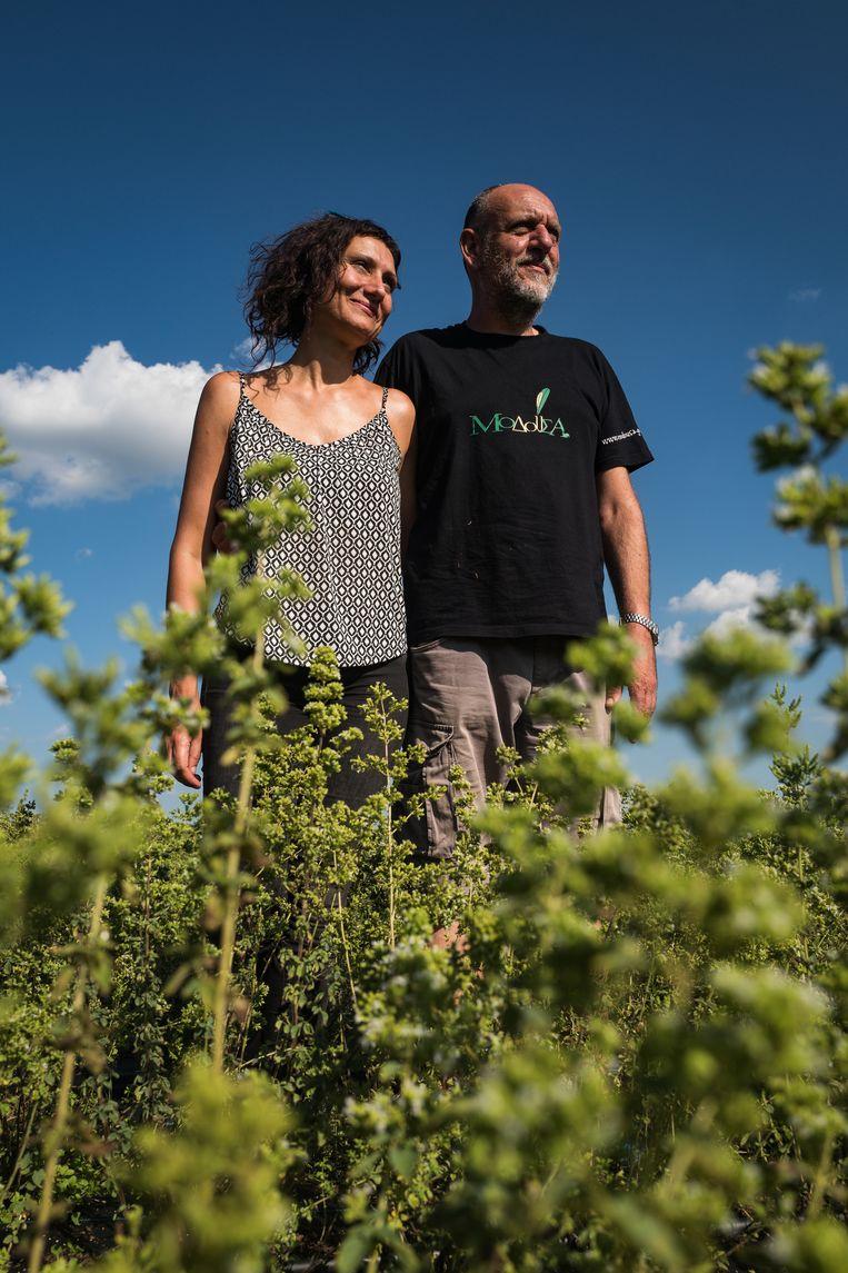 Anastasia Vasiliadou en haar man Michalis Georgaras. Beeld Zolin Nicola
