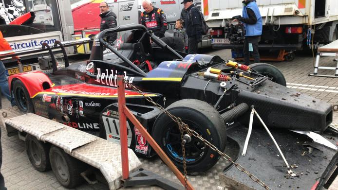 La voiture de Tom Boonen après l'incident.