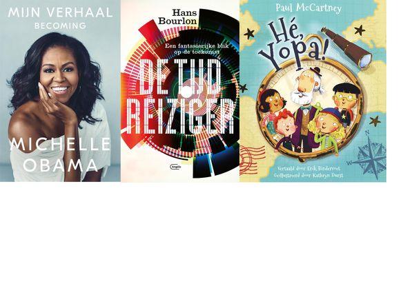 Van links naar rechts: Mijn verhaal: Becoming van Michelle Obama, De Tijdreiziger van Hans Bourlon en het voorleesboek van Paul McCartney, Hé Yopa!