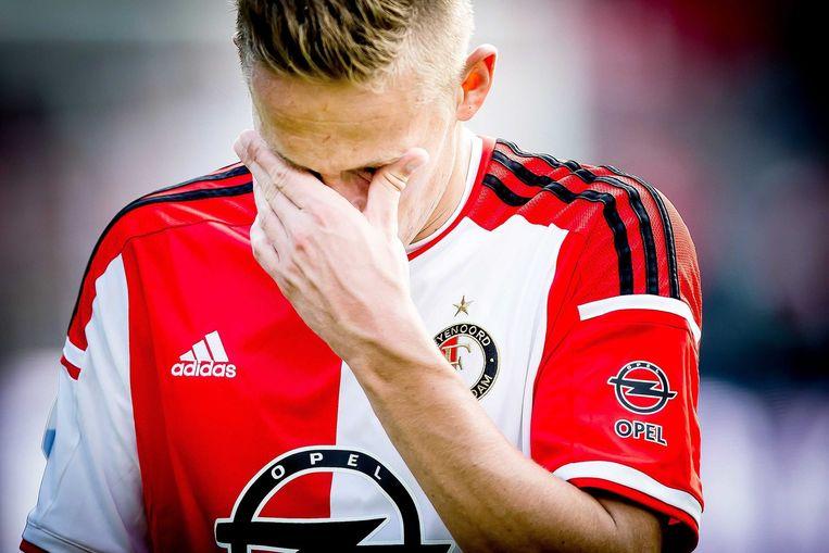 Feyenoord-speler Jens Toornstra baalt na de nederlaag tegen Ajax. Beeld epa