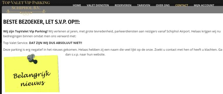 Een ander bedrijf met een naam die lijkt op dat van Top Valet Service heeft op de site een waarschuwing geplaatst.