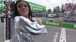 Model zwaait in GP van Canada domweg ronde te vroeg met finishvlag