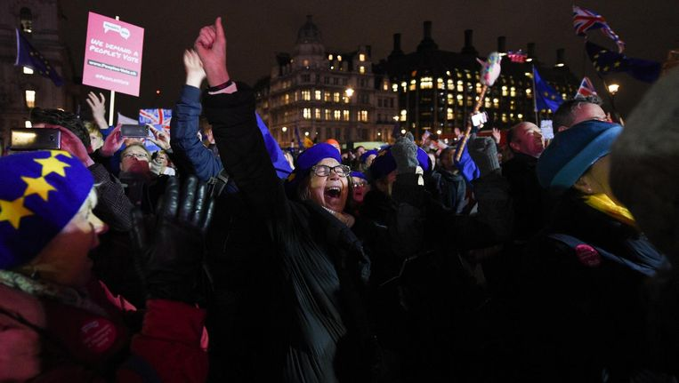 Britten reageren nadat bekend wordt dat de brexitdeal is weggestemd Beeld anp
